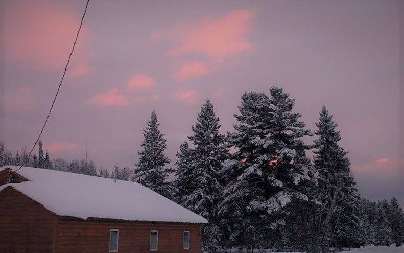 Winter Dusk Over Cabin 10